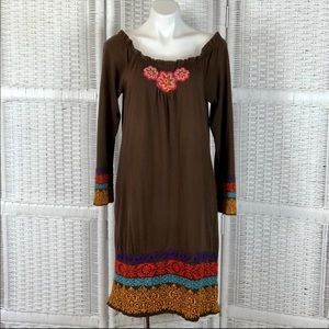 Johnny Was Cotton Knit Embroidered Peasant Dress